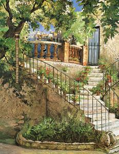Прекрасная лестница в цветочном доме
