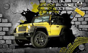 Желтый джип из стены - мастерская