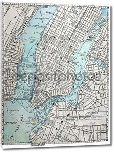 Старая карта города Нью-Йорка.