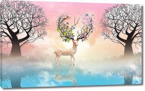 Цветущие рога у оленя