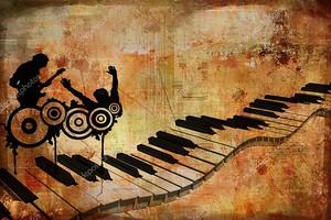 Винтажный фон, клавиши пианино, контуры музыкантов