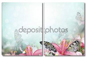 Свежий весенний фон с цветами и бабочками