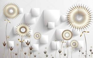 Изогнутые прямоугольники, абстрактные золотые подсолнухи