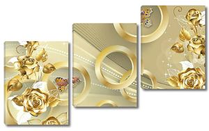 Золотые розы с золотыми кольцами