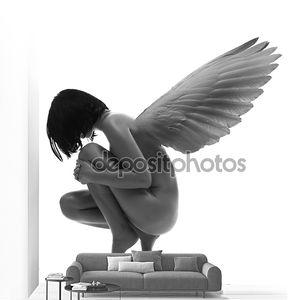 Голая женщина красоты с крыльями