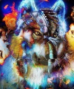 Индийский воин с волком
