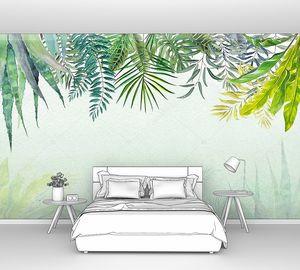 Пальмовые листья на размытом фоне