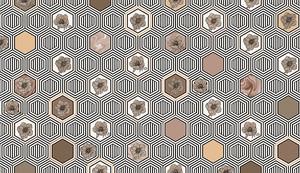 Geometrical fusion-серо-бежевый орнамент из сот