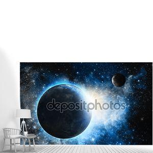 Земля и Луна с голубой туманность