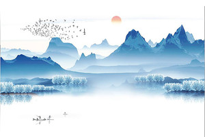 Голубые горы над озером