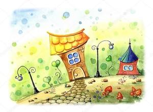 Детский рисунок городского пейзажа