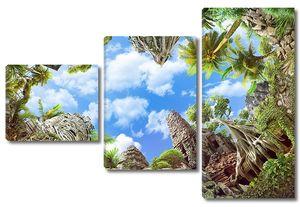 Вид снизу на скалы и пальмы