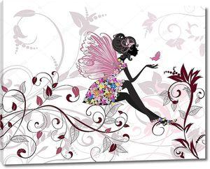 Цветочная фея с бабочками