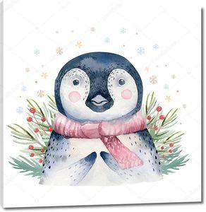 Пингвин с еловыми веточками