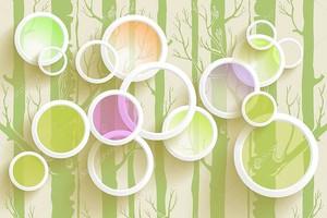 3D иллюстрации, белые кольца с цветные круги, окрашенных деревьев на фоне иллюстрации