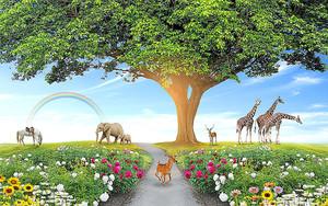 Звери под огромным деревом