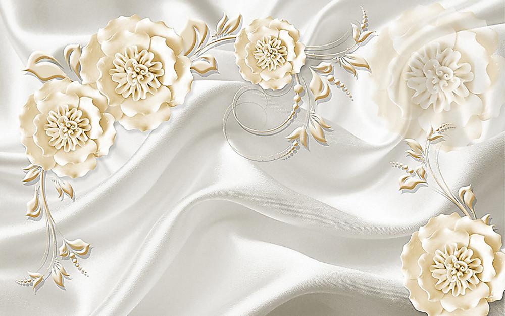 Фотообои «Белые ажурные цветы на шелке», купить в интернет-магазине «Первое Ателье»™