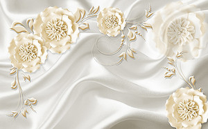 Белые ажурные цветы на шелке