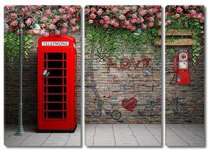 Красная будка и телефонный аппарат