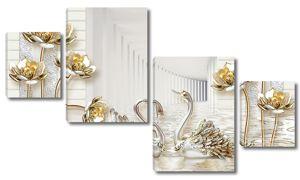Туннели  с золотыми лотосами и лебедями