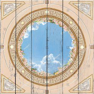 Небо в центре с розами и орнаментом