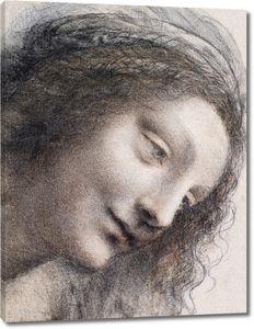 Леонардо да Винчи. Голова Мадонны, смотрящей вправо, в три четверти
