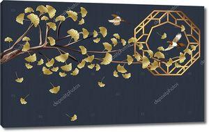 Темный фон, ветка с золотыми цветами, две летающие птицы, абстрактная иллюстрация