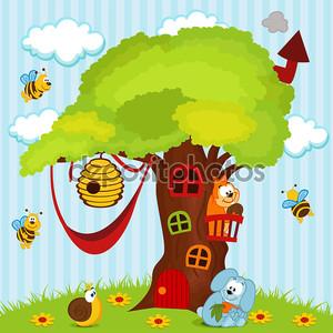 дерево дом с животными