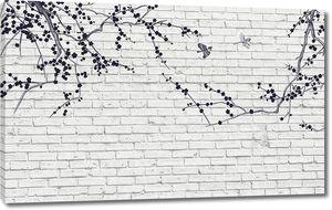 Две ветки на белой кирпичной стене