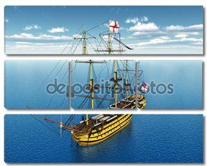 Корабль в морских просторах
