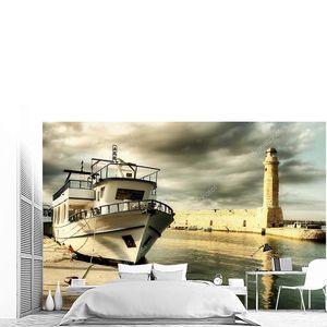 Маяк и лодка в старом порту Ретимно - художественная тонированная картина