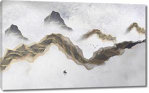 Контур гор абстрактными линиями