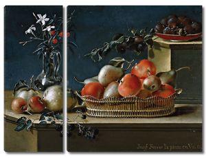 Хосе Феррер. Натюрморт с фруктами и стеклянной вазой