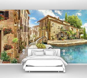 Панорама улицы с бассейном