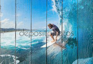 Серфер ловит волну