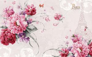 Цветы с силуэтом Эйфелевой башни
