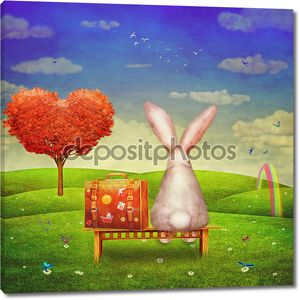 Sad rabbit with suitcase sitting on the bench on the glade