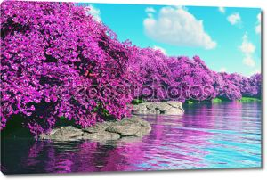 Таинственный вишня в цвету японский сад на озеро 3D визуализации