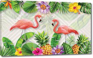 Фламинго с тропическими цветами