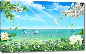 Лебеди у лазурной воды