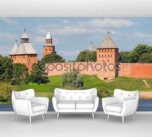 Towers of Novgorod Kremlin in Veliky Novgorod, Russia