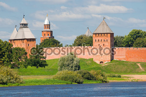 Towers of Novgorod Kremlin in Veliky Novgorod, Russia