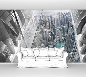 Футуристичный вид на город с высоты