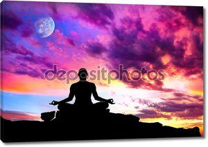 Йога медитации силуэт поза