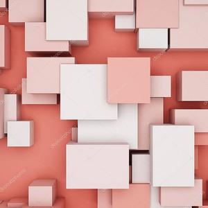 Абстрактный фон с кубиками в коралловых тонах и видом сверху