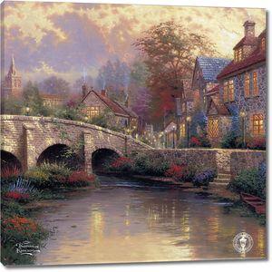 Фреска с живописным видом с мостом