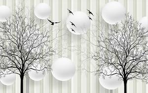 Силуэты деревьев с кругами