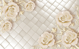 Кремовые цветы на плитке