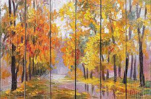 пейзаж маслом - Осенний лес, полный опавшие листья, красочные картинки, абстрактный рисунок