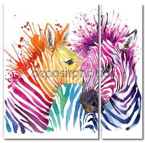 Смешные Зебры с радугой акварель